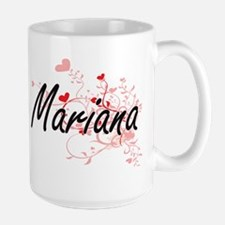 Mariana Artistic Name Design with Hearts Mugs