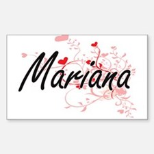 Mariana Artistic Name Design with Hearts Decal