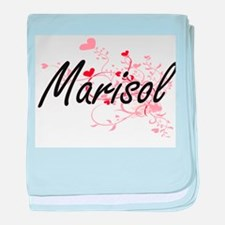 Marisol Artistic Name Design with Hea baby blanket
