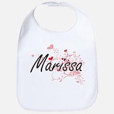 Marissa Artistic Name Design with Hearts Bib