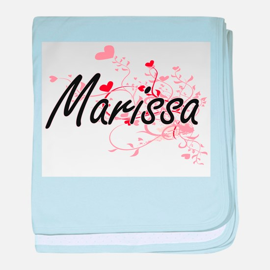 Marissa Artistic Name Design with Hea baby blanket