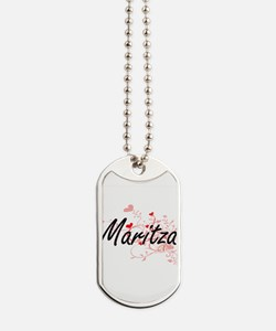 Maritza Artistic Name Design with Hearts Dog Tags