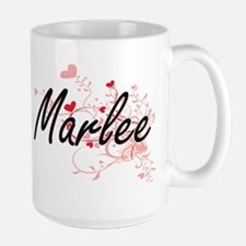 Marlee Artistic Name Design with Hearts Mugs