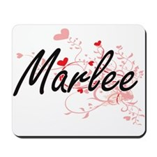 Marlee Artistic Name Design with Hearts Mousepad