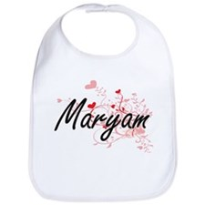 Maryam Artistic Name Design with Hearts Bib