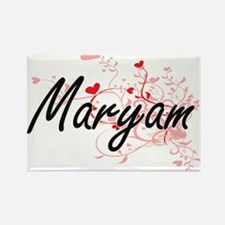 Maryam Artistic Name Design with Hearts Magnets