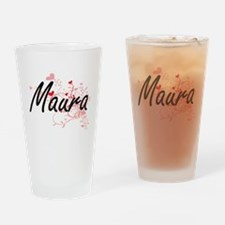 Maura Artistic Name Design with Hea Drinking Glass