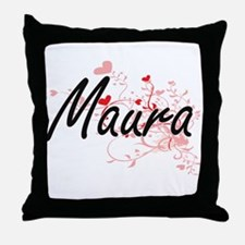 Maura Artistic Name Design with Heart Throw Pillow