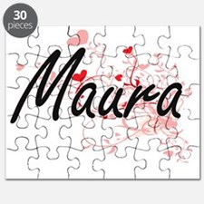 Maura Artistic Name Design with Hearts Puzzle