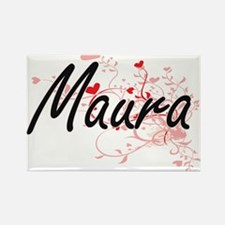 Maura Artistic Name Design with Hearts Magnets