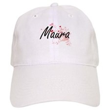Maura Artistic Name Design with Hearts Baseball Cap