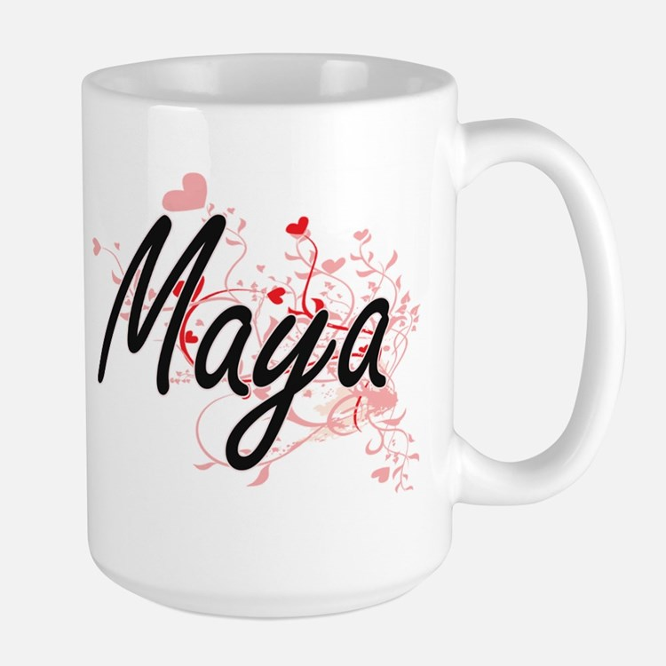 Maya Artistic Name Design with Hearts Mugs