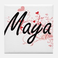 Maya Artistic Name Design with Hearts Tile Coaster