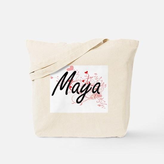 Maya Artistic Name Design with Hearts Tote Bag