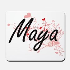 Maya Artistic Name Design with Hearts Mousepad