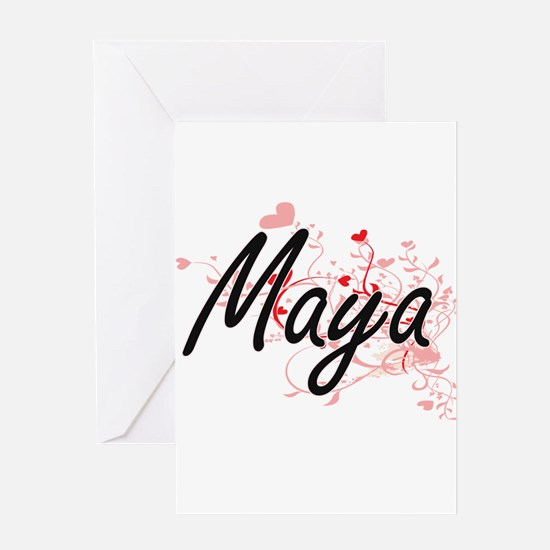 Maya Artistic Name Design with Hear Greeting Cards
