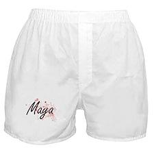 Maya Artistic Name Design with Hearts Boxer Shorts