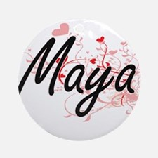 Maya Artistic Name Design with He Ornament (Round)