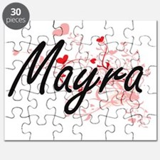 Mayra Artistic Name Design with Hearts Puzzle