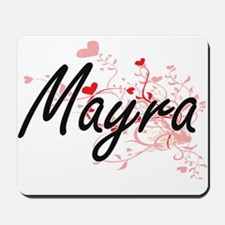Mayra Artistic Name Design with Hearts Mousepad