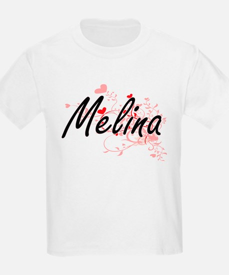 Melina Artistic Name Design with Hearts T-Shirt