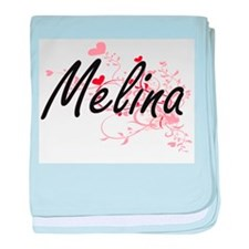 Melina Artistic Name Design with Hear baby blanket