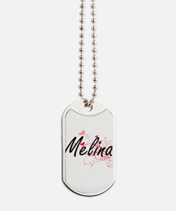 Melina Artistic Name Design with Hearts Dog Tags