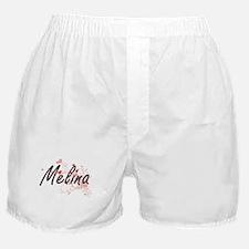 Melina Artistic Name Design with Hear Boxer Shorts
