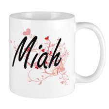 Miah Artistic Name Design with Hearts Small Mug