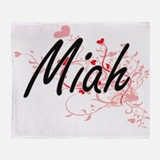 Miah Artistic Name Design with Heart Throw Blanket