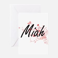 Miah Artistic Name Design with Hear Greeting Cards