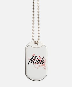 Miah Artistic Name Design with Hearts Dog Tags