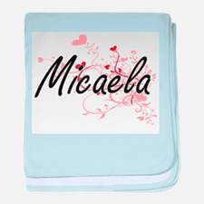 Micaela Artistic Name Design with Hea baby blanket