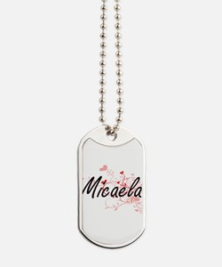 Micaela Artistic Name Design with Hearts Dog Tags