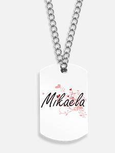 Mikaela Artistic Name Design with Hearts Dog Tags