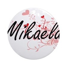 Mikaela Artistic Name Design with Ornament (Round)