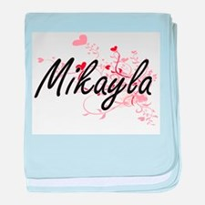 Mikayla Artistic Name Design with Hea baby blanket