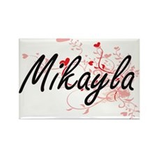 Mikayla Artistic Name Design with Hearts Magnets