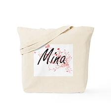 Mina Artistic Name Design with Hearts Tote Bag
