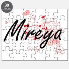 Mireya Artistic Name Design with Hearts Puzzle
