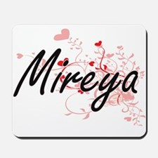 Mireya Artistic Name Design with Hearts Mousepad