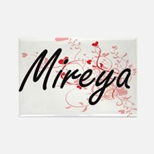 Mireya Artistic Name Design with Hearts Magnets