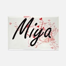 Miya Artistic Name Design with Hearts Magnets