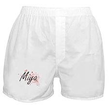 Miya Artistic Name Design with Hearts Boxer Shorts