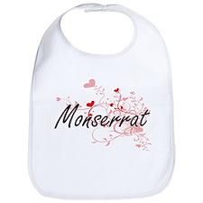 Monserrat Artistic Name Design with Hearts Bib