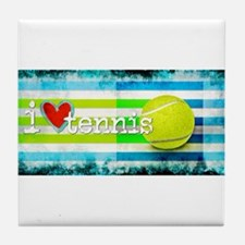 i love vintage tennis Tile Coaster