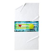i love vintage tennis Beach Towel