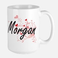 Morgan Artistic Name Design with Hearts Mugs