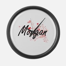 Morgan Artistic Name Design with Large Wall Clock