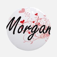 Morgan Artistic Name Design with Ornament (Round)